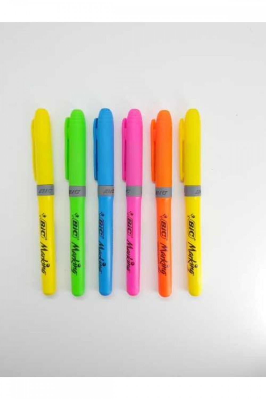 Bic Kalem Tipi Fosforlu 6 Adet Canlı Renkler Set