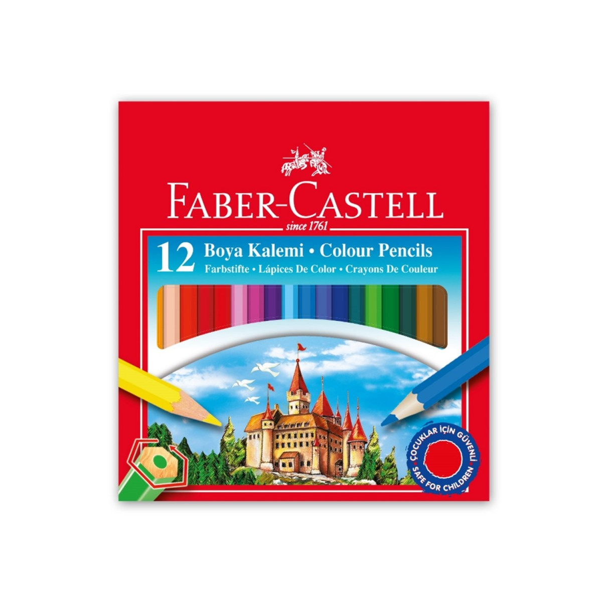 Faber Castell 12 Renk Yarım Boy Karton Kutu Boya Kalemi