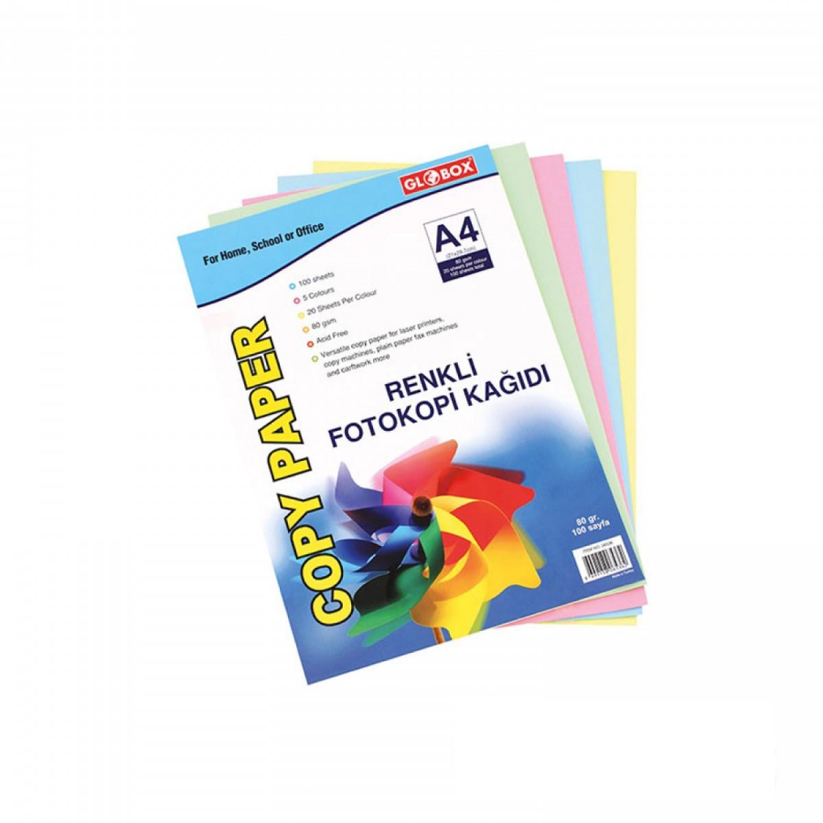 Globox 100'lü Karışık Renkli Fotokopi Kağıdı
