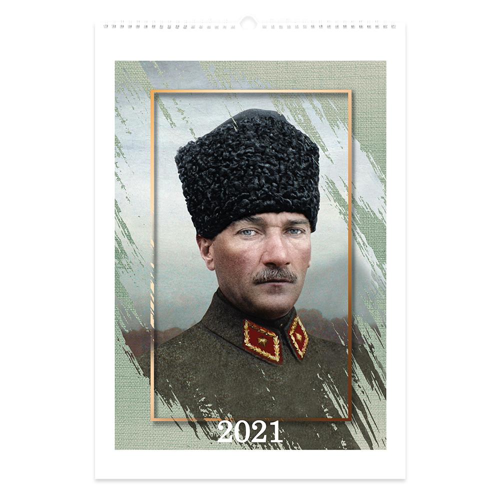 Keskin Color 2021 Yılı Spiralli 12 Aylık Duvar Takvimi - Atatürk