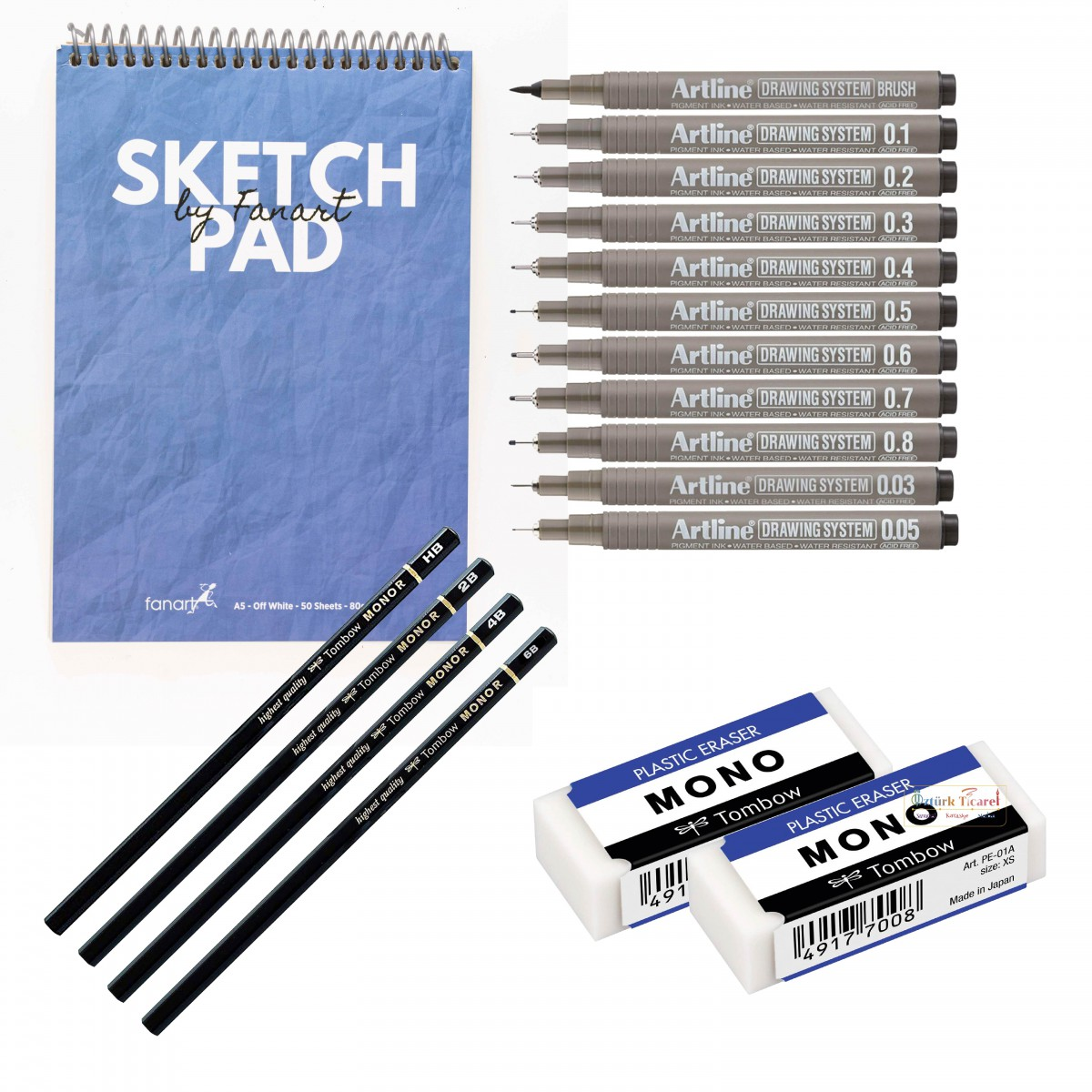 Lüks A4 Eskiz Başlangıç Seti - Akdeniz Mavisi (Tombow Mono Rs 4'lü + Mono Silgi 2'li + Fanart Sketch Pad A4 Akdeniz Mavisi + Artline Drawing 11'li)