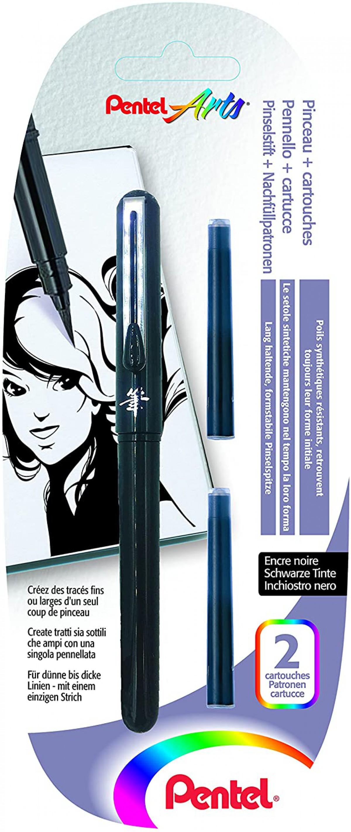 Pentel Arts Pocket Brush Cep Tipi Fırça Uçlu Kalem - Siyah