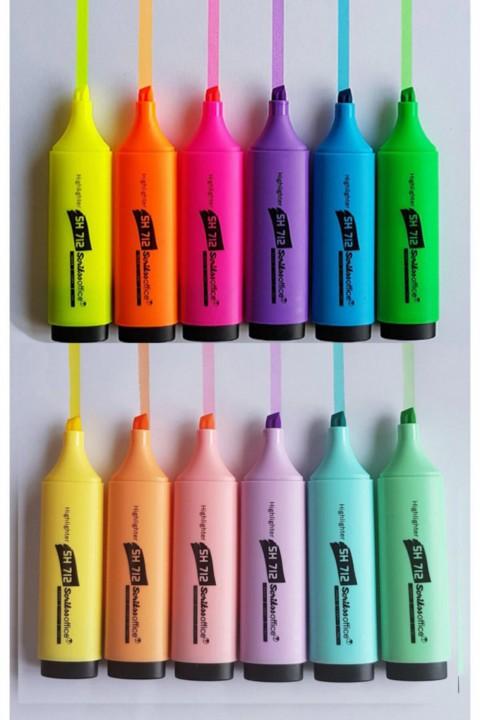 Scrikss 6 Pastel 6 Canlı Renk Fosforlu Kalem Seti