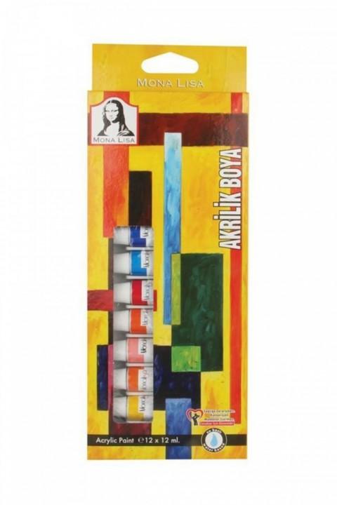 12 Renk Mona Lisa Tüp Akrilik Boya 12 ml
