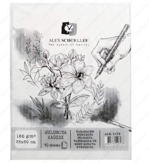 Alex Schoeller 35x50 cm 160 gr 10'lu Sulu Boya Kağıdı ALX.:0178