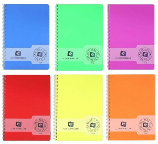 Alex Schoeller Monaco Plastik Kapak A4 80yp Spiralli Defter - Çizgili
