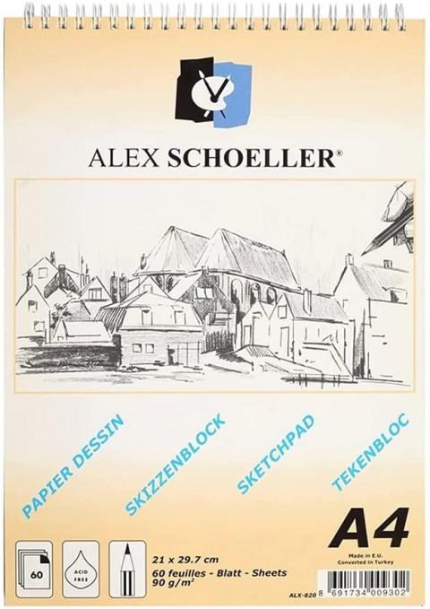 Alex Schoeller Sketch Book A4 Spiralli 90gr 60 yp Çizim Defteri ALX.820