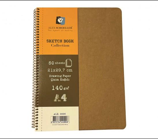Alex Schoeller Sketchbook Collection A4 140gr 50yp Kraft Kapaklı Eskiz Defteri ALX.0006
