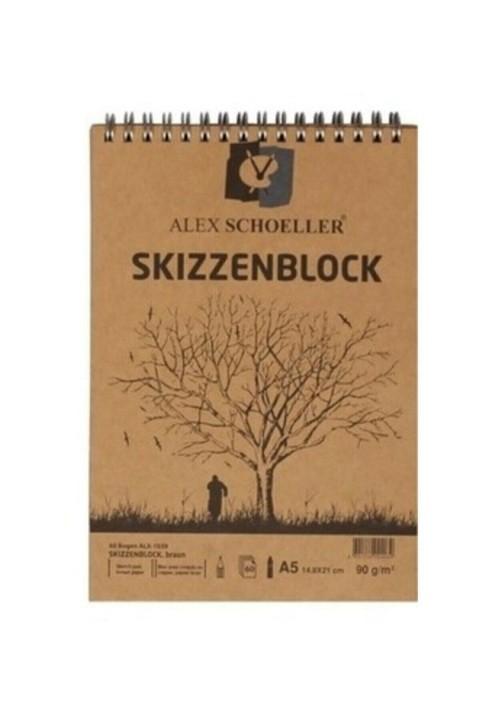 Alex Schoeller Spiralli Kraft A5 60yp Eskiz Defteri ALX.1039