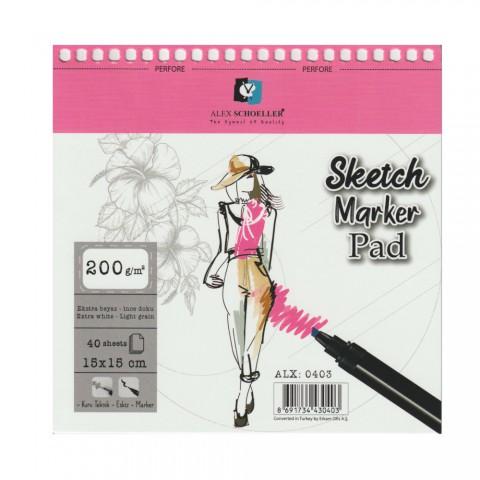 Alex Schoeller Spiralli Sketch Marker Pad 200gr 15x15cm 40 Yaprak