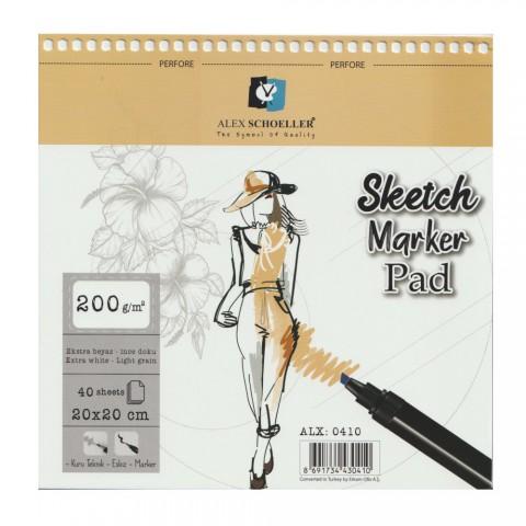 Alex Schoeller Spiralli Sketch Marker Pad 200gr 20x20cm 40 Yaprak