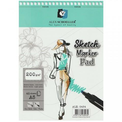 Alex Schoeller Spiralli Sketch Marker Pad 200gr A5 40 Yaprak