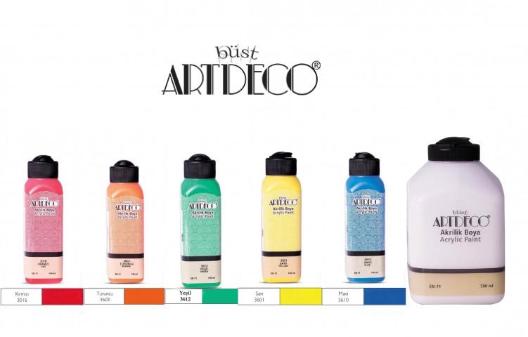Artdeco Akrilik Boya 5 Canlı Renk 140ml + Beyaz 500 ml (Kırmızı+Turuncu+Sarı+Yeşil+Mavi+500 Beyaz)
