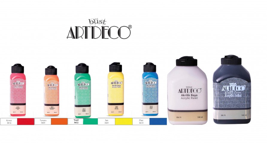 Artdeco Akrilik Boya 5 Canlı Renk 140ml + Beyaz 500 ml + Siyah 500ml (Kırmızı+Turuncu+Sarı+Yeşil+Mavi+500 Beyaz+Siyah)