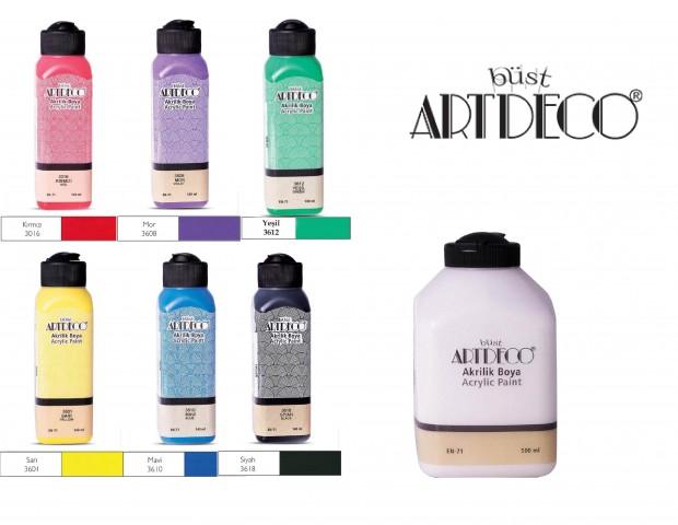 Artdeco Akrilik Boya 6 Canlı Renk 140ml + Beyaz 500 ml (Kırmızı+Mor+Sarı+Yeşil+Mavi+siyah+500 Beyaz)