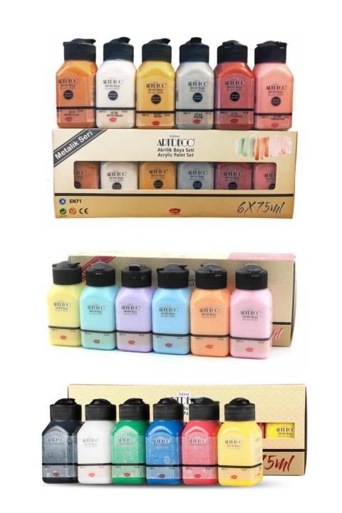 Artdeco Akrilik Boya 6x75 ml Metalik Renkler + 6x75ml Pastel Renkler + 6x75ml Canlı Renkler