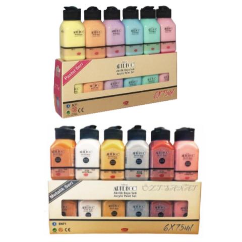 Artdeco Akrilik Boya 6x75 ml Metalik Renkler + 6x75ml Pastel Renkler Set