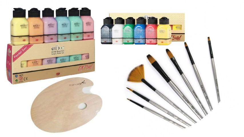 Artdeco Akrilik Boya 6x75ml Pastel Renkler + Canlı Renkler + Fanart 650 7'li Fırça Seti + Ahşap Oval Palet Set