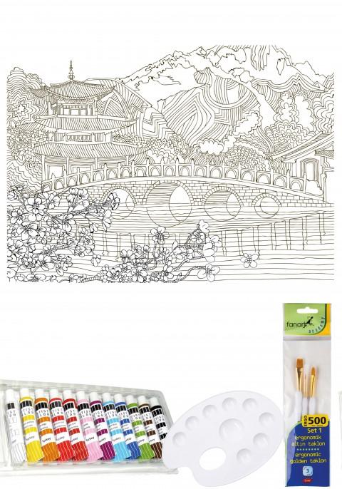 Artdeco Tuval Mandala 40x50cm Boyama Seti - Japon Bahçesi 012 (Fanart Ergo 500 Set 1 +12'li Tüp Akrilik Boya)