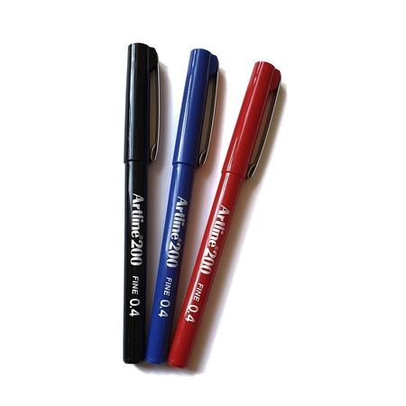 Artline 200 Fineliner 0.4 Mm Yazı & Çizim Kalemi 3 Renk (Siyah, Mavi, Kırmızı)