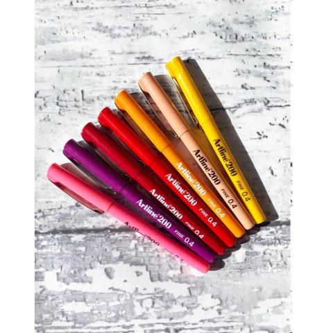 Artline 200 Fineliner Kırmızı Tonları 0.4 Mm Ince Uçlu Yazı Ve Çizim Kalemi 7 Renk Set