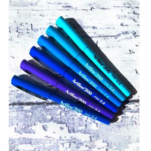 Artline 200 Fineliner Mavi Tonları 0.4 Mm Ince Uçlu Yazı Ve Çizim Kalemi 6 Renk Set