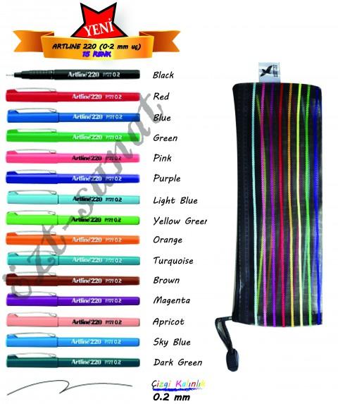Artline 220 Super Fine 0.2mm Keçe Uçlu Kalem 15 Renk Set + File Dosya Kalem Kutu