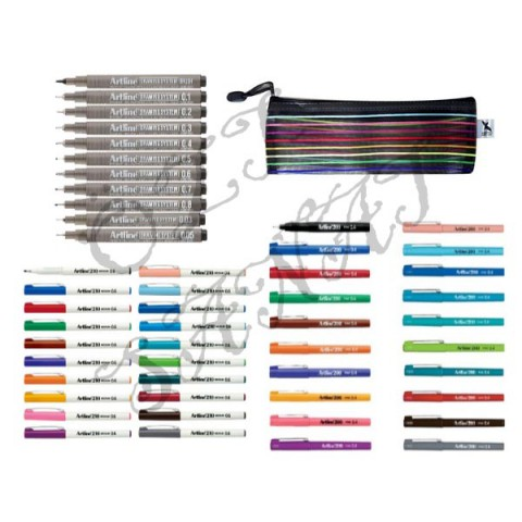Artline 51 Adet Kalem Seti - Artline Drawing 11'li + Artline 210 20 Renk + Artline 200 Fineliner Yazı ve Çizim Kalem Seti + File Dosya Kalem Kutu