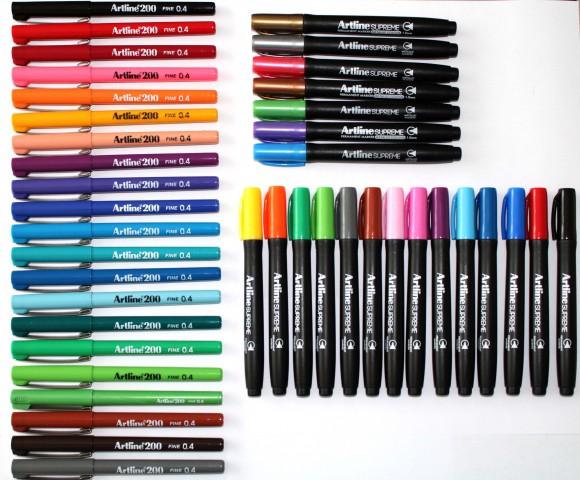 Artline Supreme 14 Renk + 7 Renk Metalik Markör + Artline 200 21 Renk Fineliner  Kalem Seti (42 Adet Kalem)