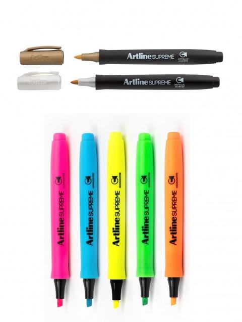 Artline Supreme 2 Adet Metalik(Altın-Gümüş) + Supreme 5 Adet Fosforlu ( Turuncu+Yeşil+Mavi+Sarı+Pembe)