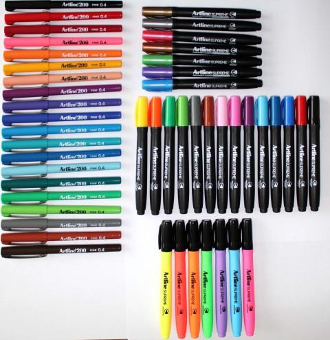 Artline Supreme 21 Renk Markör + 7 Renk Kalem Tipi Fosforlu + Artline 200 20 Renk Fineliner Kalem Seti (48 Adet Kalem)