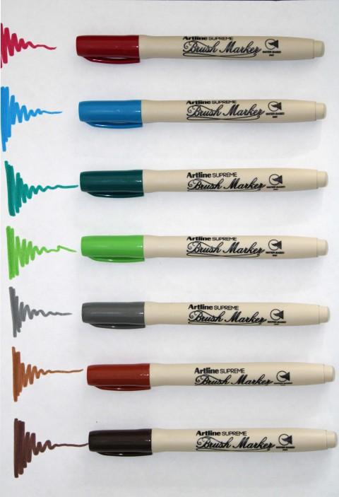 Artline Supreme 7'li Brush Marker Set (Koyu Kırmızı-Gökyüzü Mavi-K.Yeşil-S.Yeşil-Gri-Kahverengi-Koyu Kahverengi)