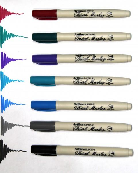 Artline Supreme 7'li Brush Marker Set (Koyu Kırmızı-Gökyüzü Mavi-K.Yeşil-Turkuaz-Gri-Mor-Siyah)