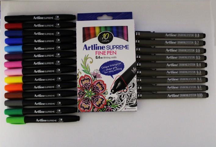 Artline Supreme + 9'lu Drawing Kalem Seti (14 Renk Markör + 9'lu Drawing + 10 Renk 0.4mm Kalem)