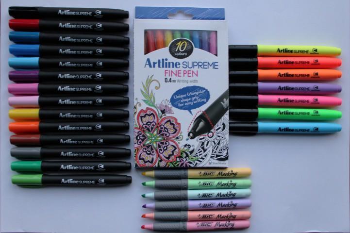 Artline Supreme + Bic Pastel Fosforlu Kalem Seti (14 Renk Markör + 7 Renk Fosforlu Kalem + 10 Renk 0.4mm Kalem)
