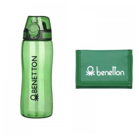 Benetton Otomatik Kapaklı Tritan Matara + Cüzdan Set - Yeşil