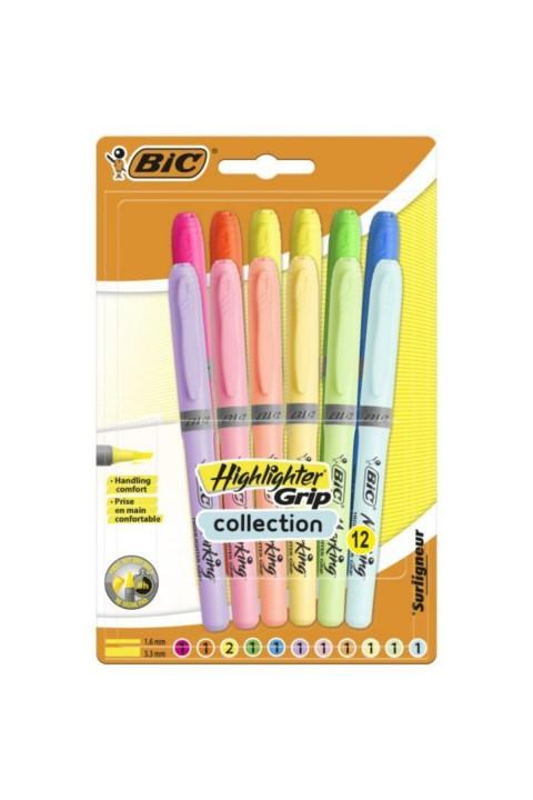 Bic Pastel 6 Pastel + 6 Canlı Renk 12'li Fosforlu Kalem - Blisterli