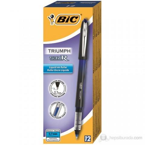 Bic Triumph 537R Roller Kalem 0.7mm 12'li Kutu - Mavi