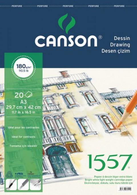 Canson 1557 Üstten Spiralli A3 Çizim Blok 180gr 20 Yaprak