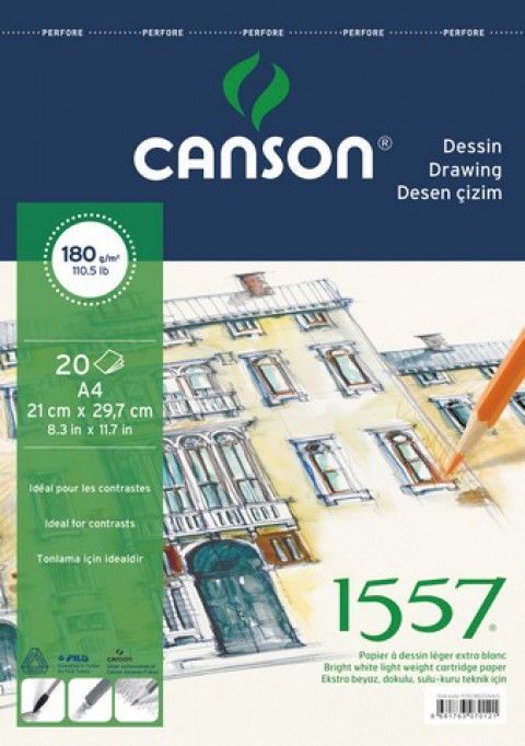 Canson 1557 Üstten Spiralli A4 Çizim Blok 180gr 20 Yaprak