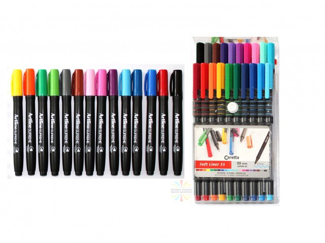 Caretta Soft Liner 55 Kalem 0,4mm Keçe Uçlu Kalem 20 Renk + Artline Supreme 14'lü Kalıcı Markör Set