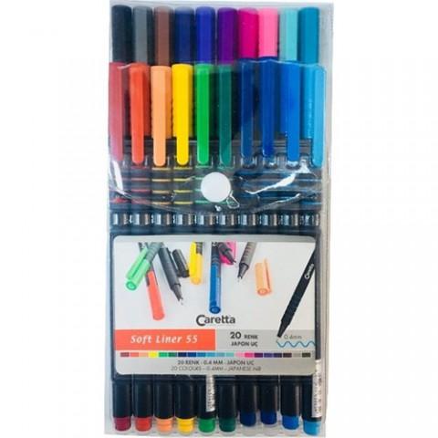Caretta Soft Liner 55 Kalem 0,4mm Keçe Uçlu Kalem 20 Renk Set
