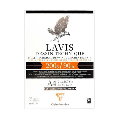 Clairefontaine Lavis Multi Teknik Defter 200 gr 20 Yaprak - A4