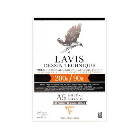 Clairefontaine Lavis Multi Teknik Defter 200 gr 20 Yaprak - A5