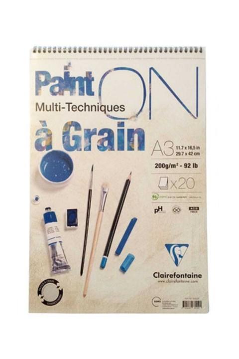 Clairefontaine Paint On Çok Amaçlı Çizim Blok Üstten Spiralli 200 gr 20 yp-A3