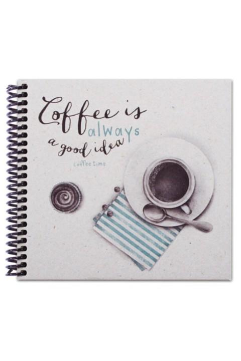 Container Notebook 16,5x15,5cm Spiralli Noktalı Defter - Coffee Is Always A Good Idea