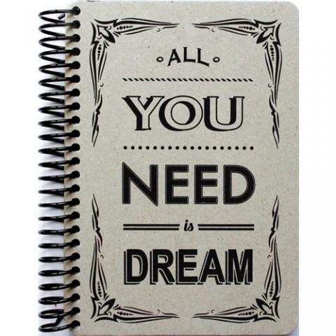 Container Notebook Raw and Grey 14x21cm Sert Kapak Spiralli Defter - Dream