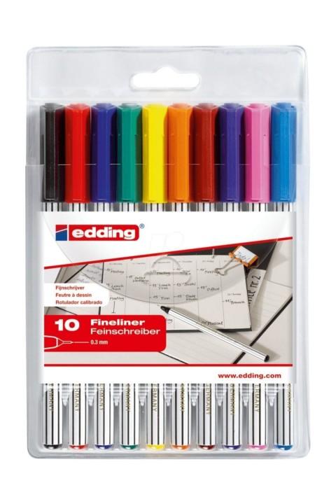 Edding 89 Fineliner Keçe Uçlu Kalem 0.3mm 10 Renk Set