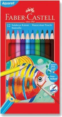 Faber Castell 12 Renk Aquarel Karton Kutu Kuru Boya Kalemi