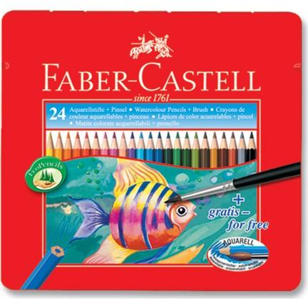 Faber Castell 24 Lü Metal Kutu Aquarel Kuru Boya Kalemi
